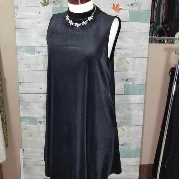 b4b275ed84 Agnes & Dora Dresses | Mock Neck Swing Tank Velvet Black | Poshmark